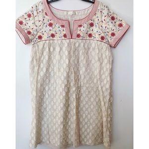 Anthropologie Aurora Embroidered Shift Dress